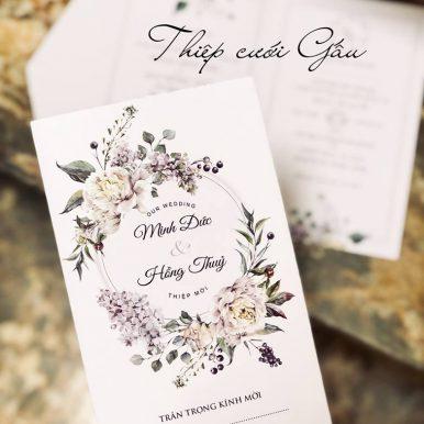 Thiệp cưới Peony Trắng