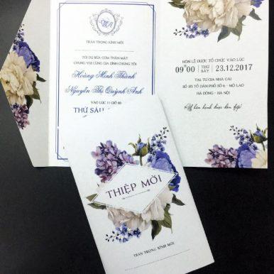 Thiệp cưới Peony xanh